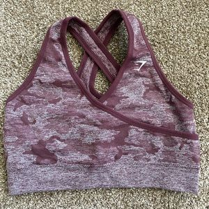 Gymshark Camo Seamless Sports Bra- Berry